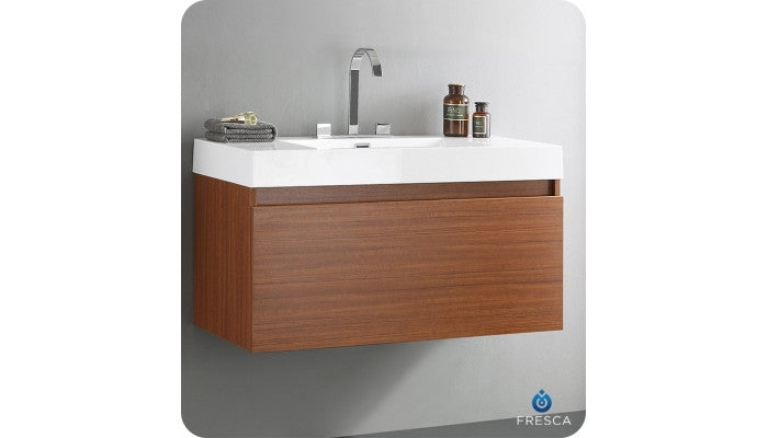 "Fresca FCB8010TK-CMB Mezzo 39"" Teak Modern Bathroom Cabinet with Integrated Sink"