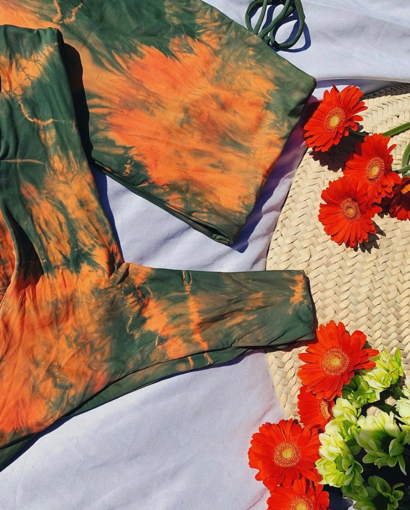 AMIE TOP (GREEN + ORANGE TIE DYE)