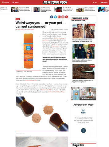New York Post | Brush On Block Mineral Powder Sunscreen