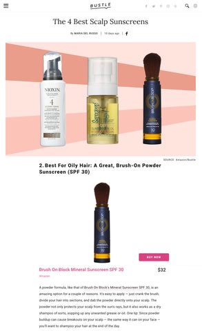 Bustle Magazine - Brush On Block Mineral Powder Sunscreen - Best Scalp Sunscreen
