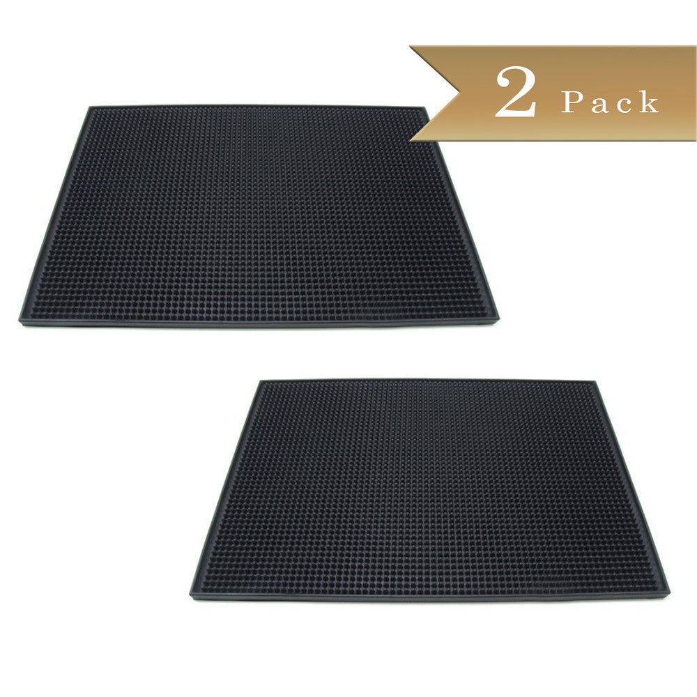 Set of 2 - True Craftware - Black Large Rubber Bar Service No-Slip Mat 18 x 12""
