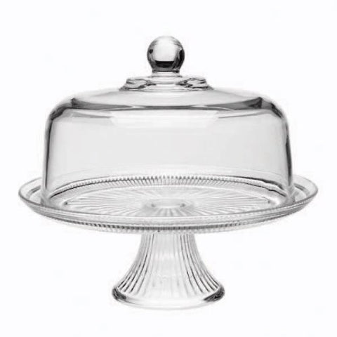 True Craftware Cake Dome Set with Ribbed Stand - Clear Glass