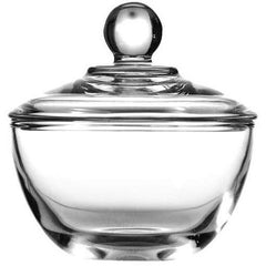 True Craftware Clear Glass Sugar Bowls with Lid - 8 Ounce (Set of 4)
