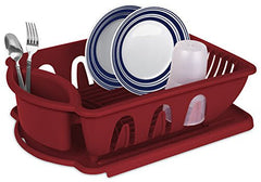 True Craftware Medium Dish Rack Drainer Set - Red