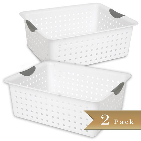 True Craftware Large White Ultra Basket Storage Organizers with Titanium Insert Handles and Perforated Design - 15 7/8