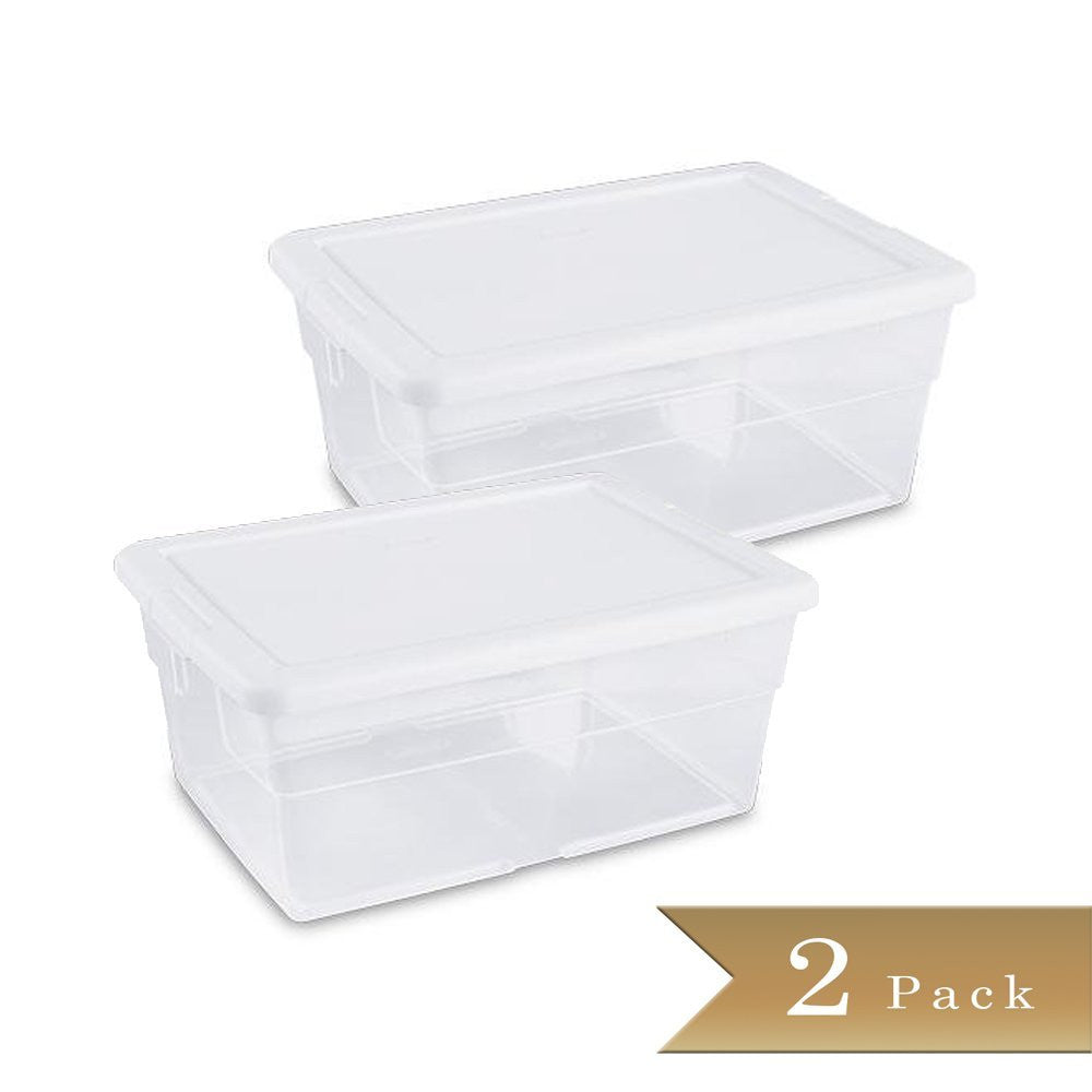 True Craftware 16 Quart Clear Storage Box with White Lid (Set 2)