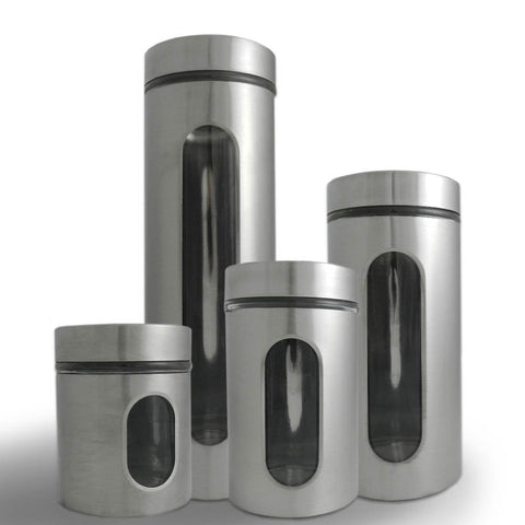 True Craftware Airtight Glass Canisters with Palladian Brushed Stainless Steel and Windows (4 Piece)
