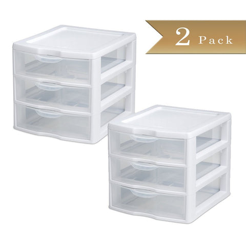 True Craftware Stackable Mini 3-Drawer Storage Units - White Frames with Clear Drawers - 8-1/2