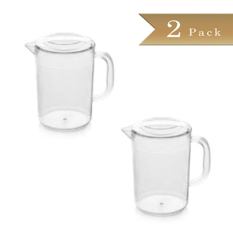 Set of 2 - True Craftware - 60 4/7 oz (1793ml) Clear Plastic Polycarbonate Beverage Pitchers with Lids - Break Resistant Pitcher
