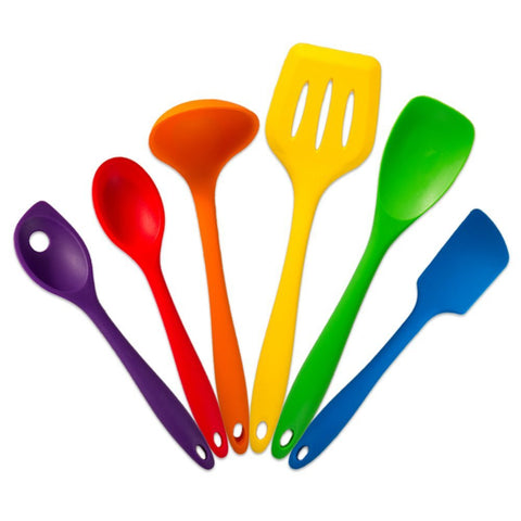 True Craftware Multi Colored Silicone Kitchen Utensil Cooking Set - Heat Resistant - 6 Piece