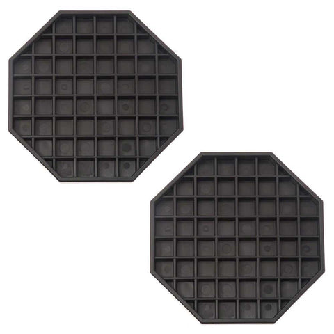 True Craftware Octagonal Black Plastic Drip Tray - 6 x 6 Inches (Set of 2)