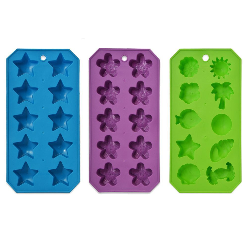 True Craftware Style Shapes Flexible Ice Cube Trays - Molds - Stars - Flowers - Beach (Set of 3)