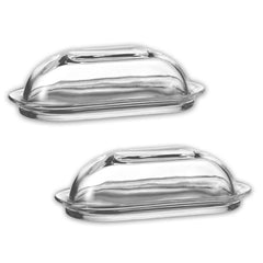 "True Craftware Glass Butter Dish with Cover 4"" X 7.5"" (Set of 2)"