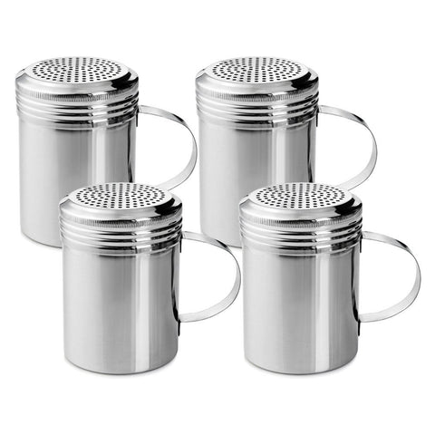 True Craftware Stainless Steel Dredge Shakers with Handle - 10 Ounce (Set of 4)