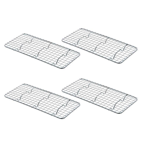 True Craftware Rectangular 5 x 10 Inch - Third Size - Chrome Plated Wire Pan Grate - Cooling Rack (Set of 4)