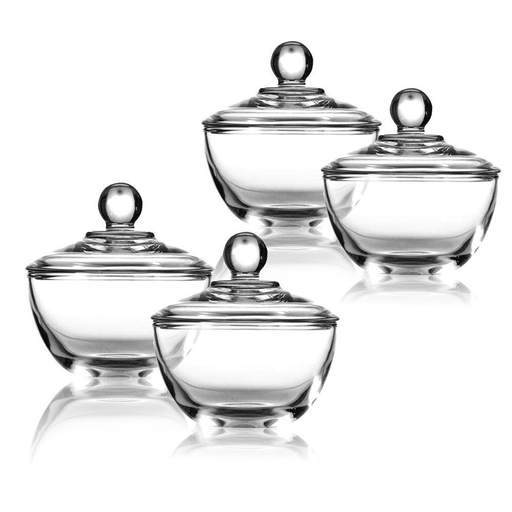 Sugar bowls with lids - True Craftware Clear Glass Sugar Bowls With Lid 8 Ounce Set Of 4