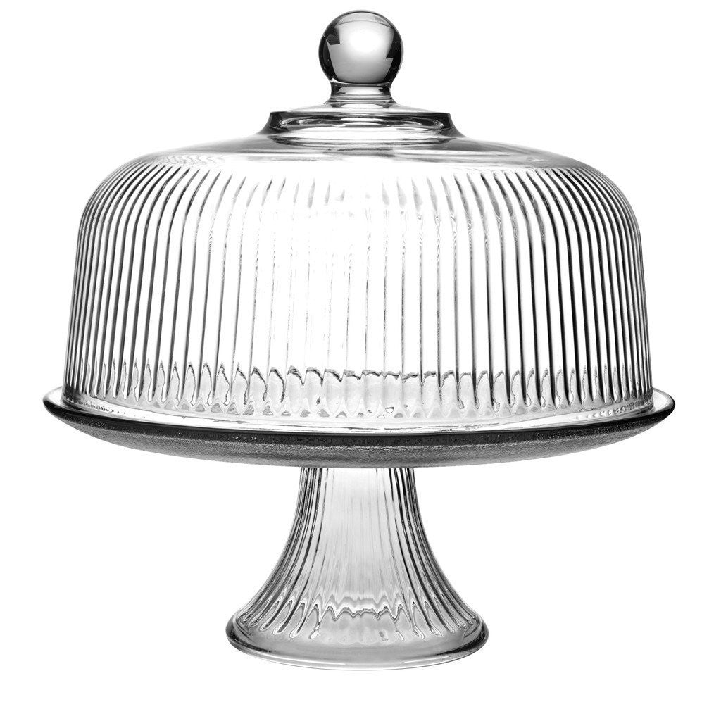 True Craftware Clear Glass Cake Stand And Dome Set With Ribbed
