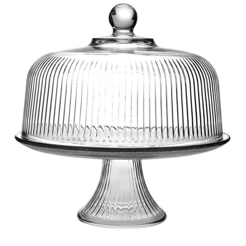 True Craftware Clear Glass Cake Stand and Dome Set with Ribbed Design