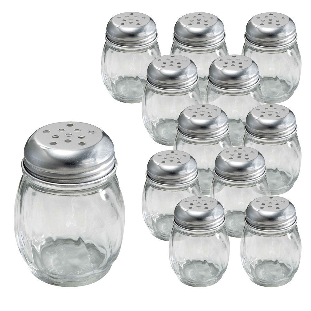 True Craftware Salt and Pepper, Spice or Cheese Shakers with Stainless Steel Perforated Lid and Swirl Design - 6 oz - (Set of 12)
