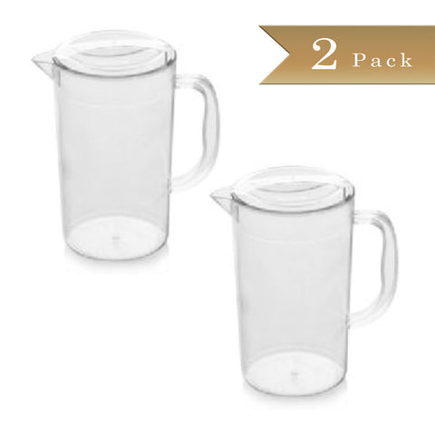 Set of 2 - True Craftware - 74 1/6 oz (2195ml) Clear Plastic Polycarbonate Beverage Pitchers with Lids - Break Resistant Pitcher