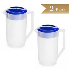Set of 2 - True Craftware - 78 1/3 oz (2318ml) Semi Clear Plastic Polypropylene Beverage Pitchers with Blue Lids - Break Resistant Pitchers