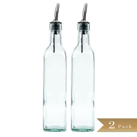TrueCraftware 8oz Glass Oil Bottle and Stainless Steel Pourer - (Set of 2)