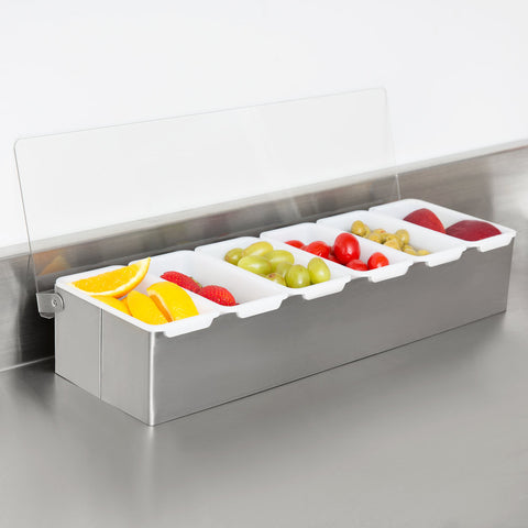 True Craftware - 6 Compartment Stainless Steel Condiment Dispenser in Satin Finish and with Plastic Inserts and Clear Acrylic Cover