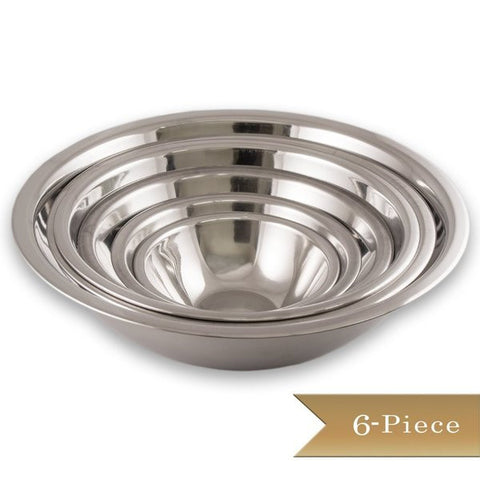 6 Piece True Craftware Standard Stainless Steel Mixing Bowl Set - Mirror Finish Prep Bowls - 3/4 Qt, 1.5 Qt, 3 Qt, 4 Qt, 5 Qt and 8 Qt,