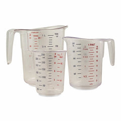 3 Piece - True Craftware Measuring Cups Set, Clear with Red Marked Measurements, 1 Cup/8 Ounce, 2 Cups/1 Pint, and 4 Cups/1 Quart
