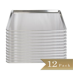 "18 Gauge Aluminium Commercial Baker's 2/3 Size Sheets / Baking Trays / Pan / 15 x 21"" (Set of 12)"