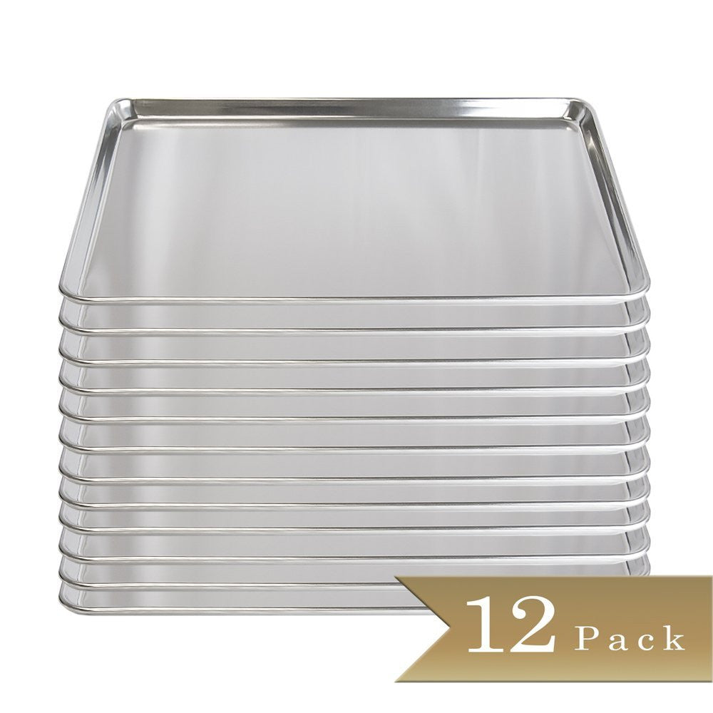 "18 Gauge Aluminium Commercial Baker's Full Size Sheets / Baking Trays / Pan / 18"" x 26"" (Set of 12)"