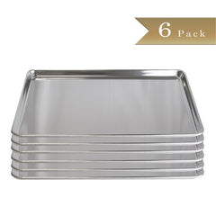 "18 Gauge Aluminium Commercial Baker's Full Size Sheets / Baking Trays / Pan / 18 x 26"" (Set of 6)"