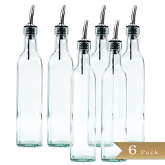 TrueCraftware - 16oz Glass Oil Bottle and Stainless Steel Pourer - (Set of 6)