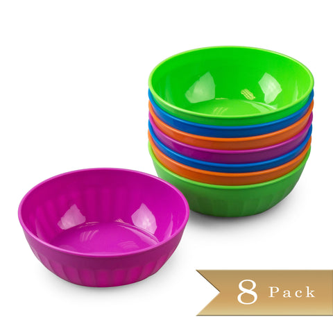 Set of 8 - True Craftware 16oz Small Plastic Snack Bowls - Assorted Color Bowls in Green, Blue, Purple and Orange
