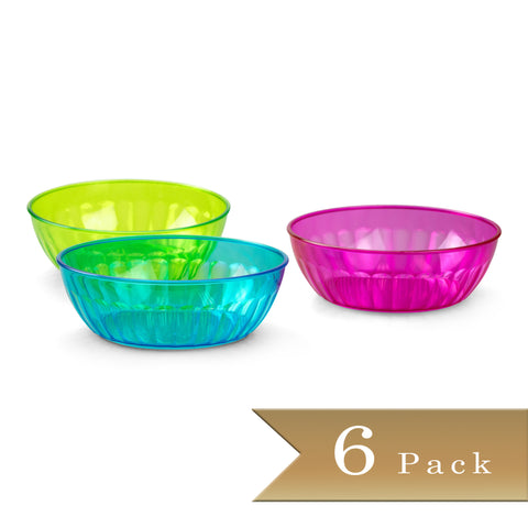 Set of 6 - True Craftware 16oz Small Plastic Snack Bowls - Party Bright Assorted Color Bowls