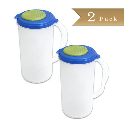 True Craftware Beverage Pitcher - 2 Quart - Green and Blue Accent Lid (Set of 2)