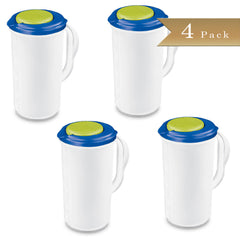 Set of 4 - True Craftware Beverage Pitcher - 2 Quart - Green and Blue Accent Lid
