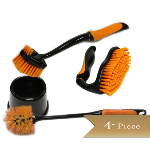 True Craftware Cleaning Brushes Set - Dish Brush - Scrub Brush - Toilet Brush - Assorted Colors (3 Piece set)