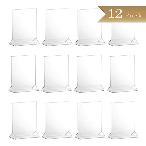 True Craftware Set of 12 - Clear Acrylic Menu Sign Photo Table Holders - Upright Table Desk Displays - 4 x 6 Inches