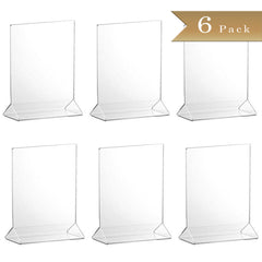 TrueCraftware Clear Acrylic Menu Sign Photo Table Holders - Upright Table Desk Displays - 4 x 6 Inches (Set of 6)