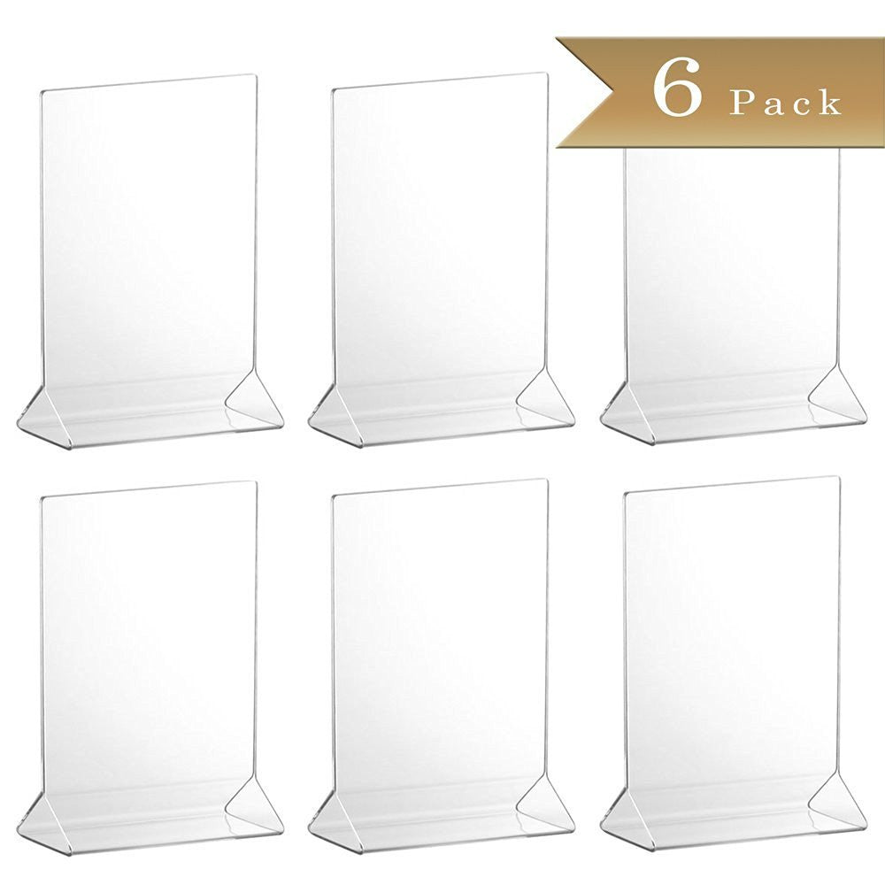 TrueCraftware Clear Acrylic Menu Sign Photo Table Holders - Upright Table Desk Displays - 5 x 7 Inches (Set of 6)