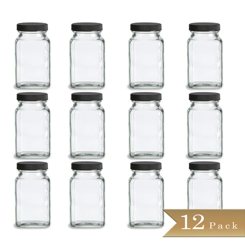 Set of 12 - True Craftware 6 oz French Square Glass Spice Shaker Jars with Black Lids and Shaker Inserts