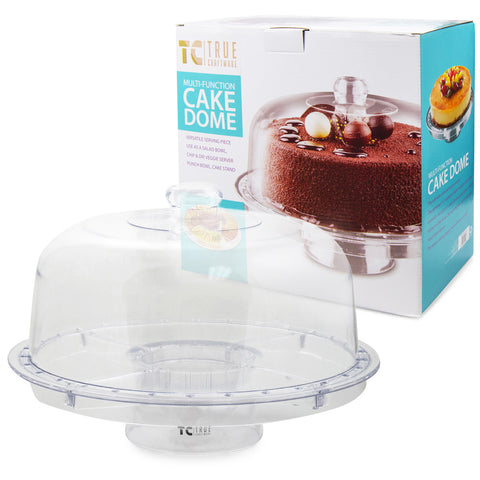 True Craftware Multifunctional (6-in-1 different possibilities) Clear Acrylic Cake Stand - Cake Plate with Dome, Punch Bowl and Serving Platter Stand