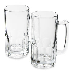 Set of 2 - True Craftware German Style - 34 oz Large Glass Beer Mug