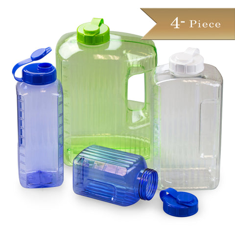 4 Piece - True Craftware Plastic Beverage Bottle / Container / Pitcher Set - One each of: 1 1/4 Pint, 1 1/4 Quart, 2 1/4 Quart and 1 Gallon in Assorted Colors: Green, Clear or Blue