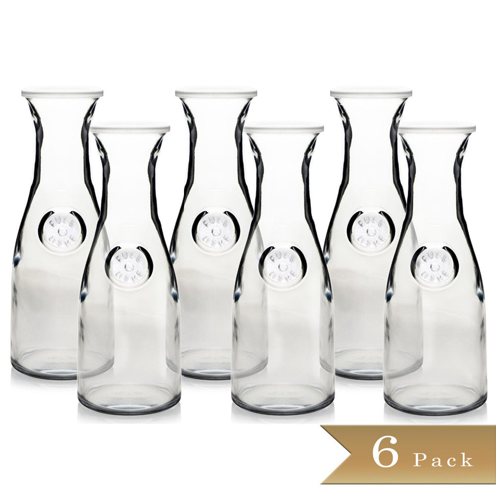 "Set of 6 - True Craftware Glass Carafes with Lids - 1 Litre / 33.8 oz - 4 1/8"" x 11"" - Beverage Pitcher - Wine - Juice - Water"