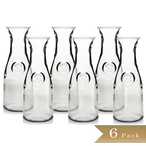 Set of 6 - True Craftware Glass Carafes with Lids - 1 Litre / 33.8 oz - 4 1/8