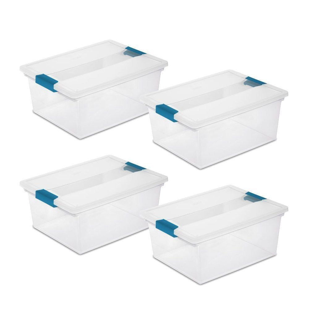 Set of 4 - True Craftware Medium Semi-Transparent Storage Containers with Lid and Handle