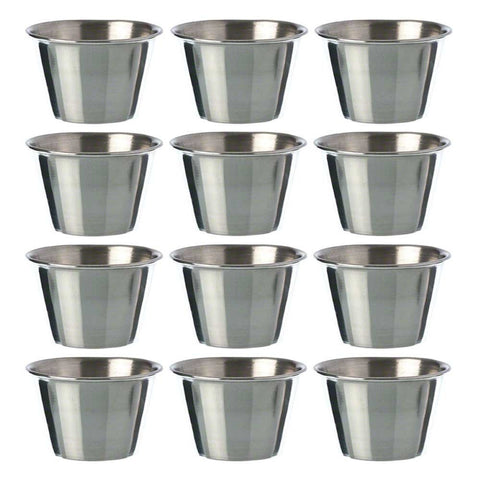 True Craftware Stainless Steel, Individual Condiment Sauce Cup - 2 1/2 oz (Set of 12)