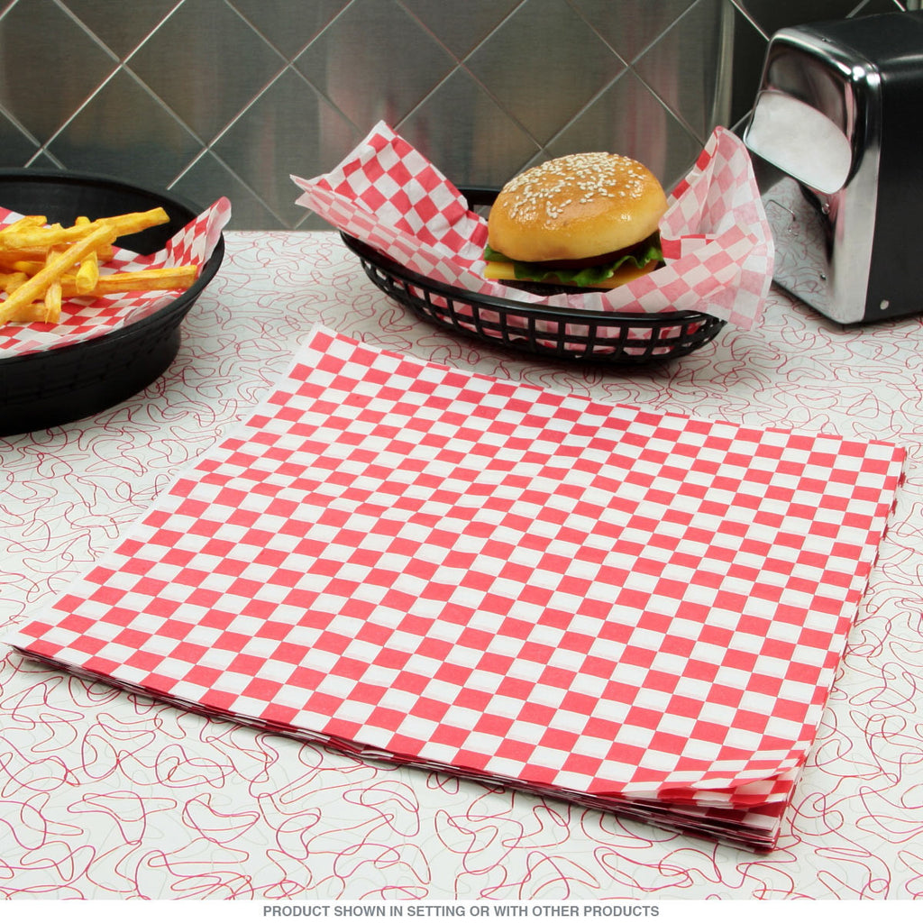 "TrueCraftware Red Checkered Deli Basket Liners / Greaseproof Paper - 12 x 12"" (120 Sheets)"